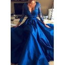 Blue Glamorous Womens Solid Color Hollow Out Lace Gathered Waist Scalloped V Neck 3/4 Sleeve Floor Length Fit&Flare Gown Evening Dress