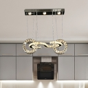 Modern Locking Design Pendant Light Cut Crystal LED Suspended Lighting Fixture in Chrome