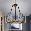 Geometry Pendant Chandelier Contemporary Crystal Panels 6-Head Hanging Ceiling Light in Black