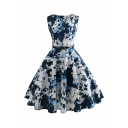 Blue Summer Womens Abstract Print Zipper Back Sleeveless Round Neck Midi Swing Dress with Belt