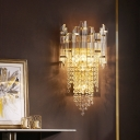 Cascading Bedside Wall Mount Lamp Clear Crystal 1 Head Modern Flush Wall Sconce in Gold
