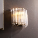 Gold Curved Wave Wall Sconce Contemporary Fluted Clear Glass Rods 1-Light Wall Mounted Light Fixture