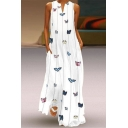 Elegant Womens Butterfly Lined Printed Pockets Side Notched Neck Sleeveless Relaxed Fit Long Swing Dress