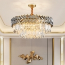 9-Head Tiered Down Lighting Contemporary Crystal Block Hanging Chandelier in Black and Gold for Parlor