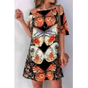 Trendy Womens Butterfly Floral Printing Straps Tie Open Back Short Ruffle Sleeve Plus Sized Tunic Tee Shirt