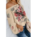 Glamorous Floral Printing Off the Shoulder Long Puff Sleeve Loose Fit Tee Top for Women