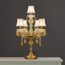 5/6 Lights Bell Shaped/Candle Table Light Traditional Gold Finish Crystal Night Lamp with/without Shade