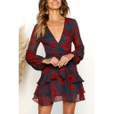 Gorgeous All over Flower Printed Blouson Sleeve Surplice Neck Tied Waist Ruffled Short A-line Dress in Red