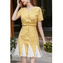 Pretty Womens Checkered Polka Dot Print Short Sleeve V-neck Button up Stringy Selvedge Patchwork Short A-line Dress in Yellow