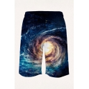 Trendy Mens 3D Relax Shorts Galaxy Figures Sun Hills Pattern Pocket Drawstring Straight Fit Mid Rise Knee Length Relax Shorts