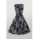 Vintage Floral Print Pleated Buckle Belted Zip Back Sleeveless Crew Neck Midi Swing Ladies Dress