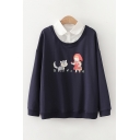 Trendy Girls Cat Girl Printed Long Sleeve Polo Collar Loose Fit Pullover Sweatshirt
