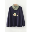 Preppy Girls Avocado Graphic Plaid Patched Long Sleeve Turndown Collar Button Detail Loose Fit Pullover Sweatshirt