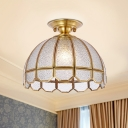1-Light Semi Flush Light Colonial Domed Opaline Glass Close to Ceiling Lighting in Brass