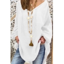 Womens Stylish V Tie-Neck White Bell Sleeve Casual Loose Beach Blouse