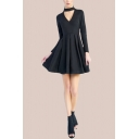 Trendy Plain Long Sleeve V-cutout Short Pleated Flared Dress