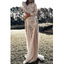 Fancy Womens See-through Lace 3/4 Sleeve Round Neck Maxi Flowy Dress in White