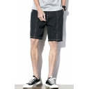 Dressy Mens Jean Shorts Stitch Tape Pocket Zipper Fly Mid Rise Fitted Jean Shorts in Black