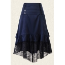 Hot Popular Womens High Low Double Ruched Button Pleated Ruffle Cuff Patcheed Lace Trim High Rise Long Asymmetric Skirt