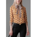 Stylish Chain All-over Printed Long Sleeve Striped Point Collar Bow Tied Loose Shirt in Yellow