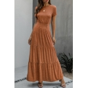 Stylish Solid Color Pleated Tiered Short Sleeve Crew Neck Long Flowy Dress for Girls