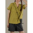 Simple Ladies Solid Color Short Sleeve Notched Collar Button up Relaxed Fit Shirt Top