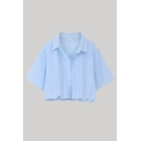 Simple Womens Solid Color Short Sleeve Spread Collar Button-up Elastic Hem Relaxed Crop Shirt Top