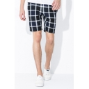 Casual Shorts Checked Pattern Pocket Drawstring Mid Rise Regular Fitted Shorts for Men