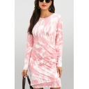 Fashionable Tie Dye Printed Long Sleeve Round Neck Mid Fitted T Shirt Dress for Women