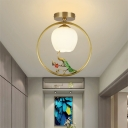 Globe Doorway Flush Mount Fixture Rustic Style Opal Glass 1-Head Brass Ceiling Light with Peacock/Plant/Branch Deco