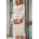 Fashion Womens Solid Color Button Up V-Neck Long Sleeve Fitted Cropped Knitwear Cardigan Top & Elastic Waist Midi Bodycon Skirt Set