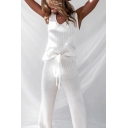 Chic Womens Knit Sleeveless V-neck Loose Tank Top & Long Straight Pants Co-ords in White