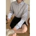 Unique Plain Button Front Turn-down Collar Long Sleeve Relaxed Crop Pullover Sweatshirt for Women