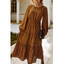 Pretty Leopard Printed Gathered Waist Stringy Selvedge Round Neck Bishop Long Sleeve Midi A-Line Tiered Dress for Women