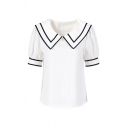 Fashionable Womens Striped Sailor Collar Puff Short Sleeve Regular Fit Shirt in White