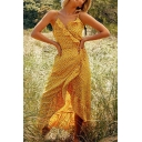 Pretty Womens Ditsy Floral Printed Spaghetti Straps Ruffled Surplice Neck Long Wrap Slip Dress in Yellow