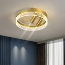 Acrylic Rounded Flush Mount Modernist LED Gold Flush Ceiling Light in Warm/White Light with Adjustable Spotlight, 16