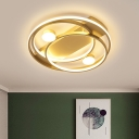 Ringed Ceiling Mounted Light Nordic Acrylic LED Bedroom Flush Mount Lamp in Gold, 16