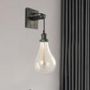 Vintage Drop-Shape Wall Lighting Ideas 1 Light Clear Glass Wall Mounted Lamp Fixture in Black
