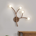 3/4 Lights Wall Mounted Lamp Simple Globe Clear Glass Wall Lighting with Wood Branch Design in Brown