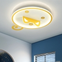 Cartoon Cat Ceiling Mounted Fixture Metal LED Bedroom Flush Mount Lamp in Yellow, Warm/White Light
