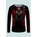 Mens 3D T-Shirt Creative Reaper Scythe Pattern Crew Neck Long Sleeve Slim Fitted T-Shirt