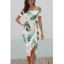 Fashionable Allover Leaf Printed Short Sleeve Off the Shoulder Mid Bodycon Wrap Dress for Women
