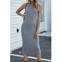 Chic Solid Color Knitted Sleeveless Crew Neck Mid Sheath Tank Dress for Ladies