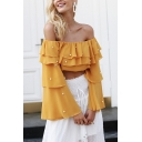 Pretty Womens Pearl Decoration Tiered Long Sleeve Off Shoulder Relaxed Crop T Shirt in Yellow