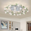 Minimalist Modo Semi Flush Faceted Crystal 15/21 Heads Living Room Ceiling Mounted Light in Chrome with Leaf Deco