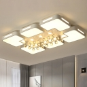 Rectangle Flush Mount Lamp Modernity Metal LED Chrome Ceiling Light Fixture with Crystal Ball Deco