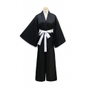 Anime Cosplay Long Sleeve Surplice Neck Bow Tied Waist Maxi Loose Fit Kimono in Black