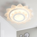 Lotus Acrylic Flush Lamp Contemporary LED White Ceiling Mounted Fixture in Warm/White Light