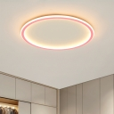 Macaron Style LED Flush Light Pink/Blue Round Ceiling Mounted Fixture with Acrylic Shade